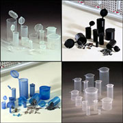 Bottles, Jars and Tubes sells Polyvials™ Hinged Lid Containers (Polycons).